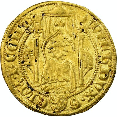 Coin, Netherlands, Guillaume I, Florin D'or, XIVth Century, EF(40-45), Gold