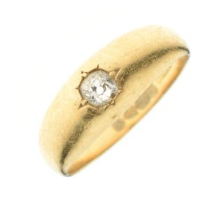 18ct gold and solitaire diamond 'Creole' ring,...