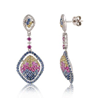 4 50ctw Multi Color Shire And 0 20ctw Diamond 18k White Gold Dangle Earrings Cur S Barnebys Co Uk