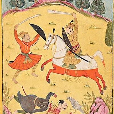 ALBUMBLAD, gouache med guld på papper. Indien, sent 1800-tal.
