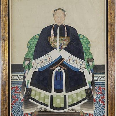 ANFADERSPORTRÄTT, tusch och akvarell på papper, Kina, 1900-talets första hälft.