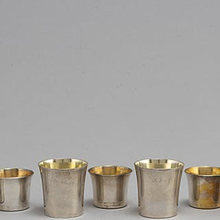 5+2 silver beakers, ohan Carlsson, Norrköping 1836 and K. Torndals