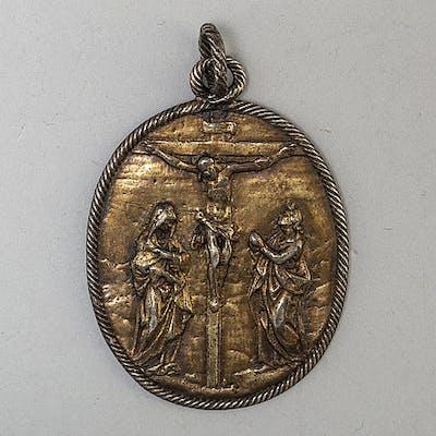 DOPMEDALJ, förgyllt silver, Tyskland, 1600-tal.