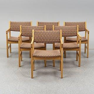 Six armchairs by Hans J. Wegner, Getama, Gedsted, Denmark.