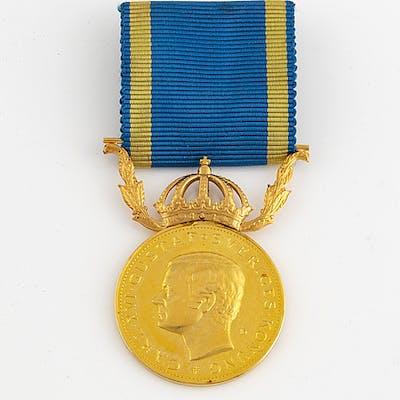 MEDALJ, guld. 'För nit och redlighet i rikets tjänst'