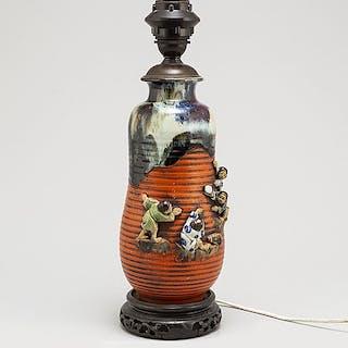 VAS/BORDSLAMPA, keramik. Japan, Sumida, Meiji (1868-1912).