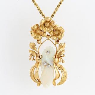 HÄNGE, design Siegfried Egger, med skuren opal och briljantslipade