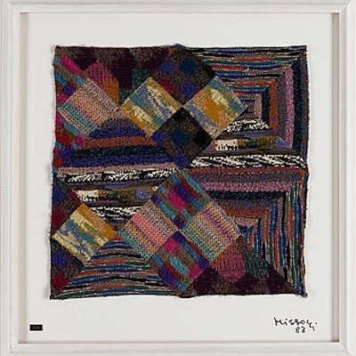 OTTAVIO MISSONI, textile patchwork on plexi, signed, numbered 3/6 and dated 83.