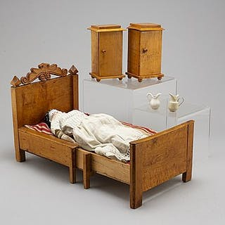 A china head doll and a 3 psc of doll furniture.