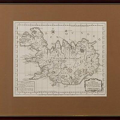 MAP, Carte de L´Islande, copper engraving by Jacques Nicolas Bellin 1758.