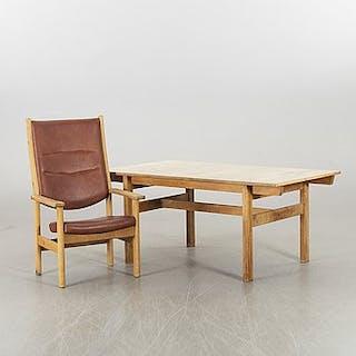 A HANS J WEGNER TABLE AND ARMCHAIR, Getama Denmark 1970's.