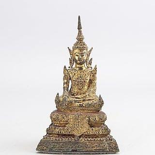 A bronze figure of buddha, Thailand, Bangkok, circa 1900.