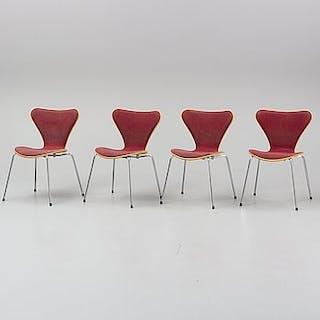 Four chairs by Arne Jacobsen, Fritz Hansen, Denmark.