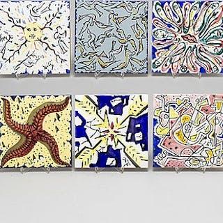 Six Salvador Dalí tiles.