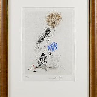 """""""La fille au flambeau"""" by Salvador Dali. Etching, drypoint in color"""