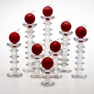 "TIMO SARPANEVA, ""Festivo"" 8 glass candlesticks from Iittala. original"