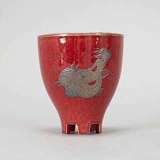 A Wilhelm Kåge 'Argenta' stoneware vase, Gustavsberg 1957.