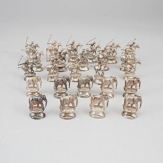 A set of 25 silver table-card holders, marked London 1966.