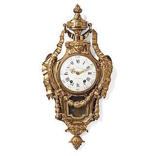 A Louis XVI wall clock, Le Roux Paris, late 18th century.