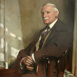 Sir William Orpen, Portrait of Thomas Glass, seated half-length, in