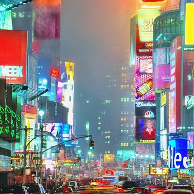Mitchell Funk, Times Square on Foggy Night (2003)
