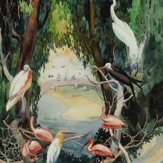 Jessie Arms Botke, Birds at a waterhole, Flamingos, Swans, Egrets-