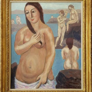 Abraham Walkowitz, Nude with Pink Towel  (ca. 1920)