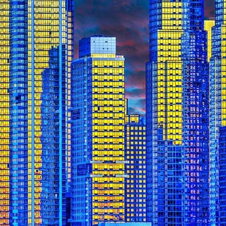 Mitchell Funk, Manhattan:  Gold Blue Reflections  (2017)