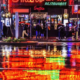 Mitchell Funk, Color reflections on a rainy New York night (2018)