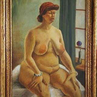 "John Steuart Curry, ""Hilda Nellis"", seated nude woman (1934)"