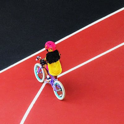 Mitchell Funk, Child on bicycle (2018)