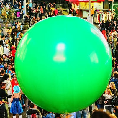 Mitchell Funk, Green Ball in Times Squre with Crowd of Humans (2014)