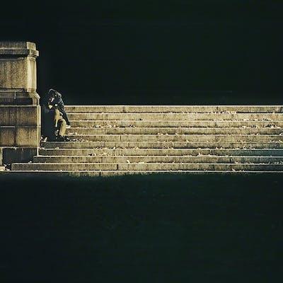 Mitchell Funk, Homeless Man on Bryant Park Steps (1971)