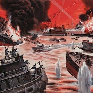 Mort Kunstler, Seal Off the Nazis at Antwerp Harbor, Stag magazine (1964)