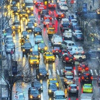 Mitchell Funk, York Avenue Lights in the Rain , New York (2017)