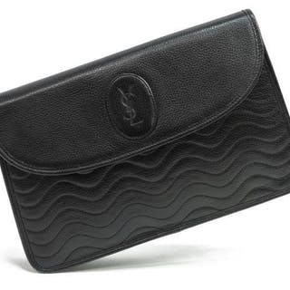 edcd52ad9fc5b YVES ST. LAURENT YSL BLACK LEATHER CLUTCH – Current sales – Barnebys ...