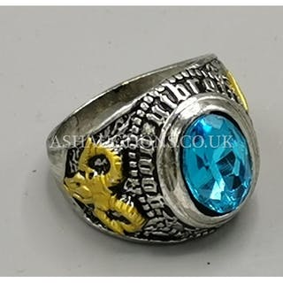 MASONIC CEREMONIAL RING With BLUE STONE,GOAT & SEXTANT SIDES