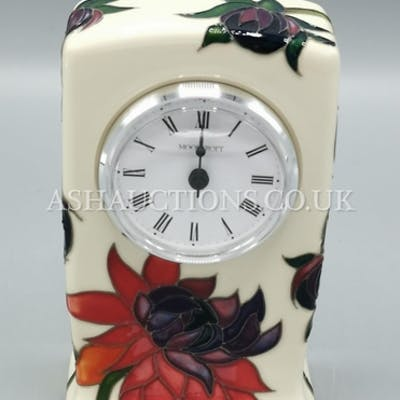 MOORCROFT 15cm MANTLE CLOCK (Shape No CL1) IN THE RUBY RED ...