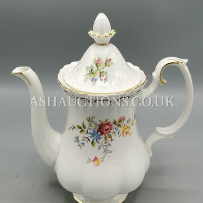 ROYAL ALBERT CHINA COFFEE POT IN THE JUBILEE ROSE DESIGN