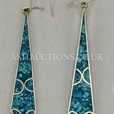 PRESENTED AS A PAIR OF SILVER ALPACA MEXICO Designer EARRING...
