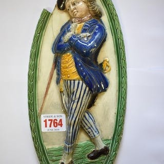 A late 18th century pearlware Sailor Boy oval relief plaque,...