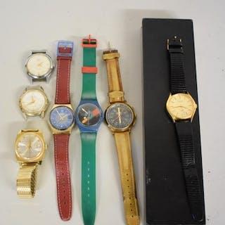 A boxed Bulova Accutron quartz wristwatch; together with six...