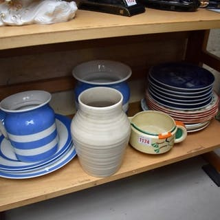 A mixed group of pottery and porcelain, to include: Cornishw...