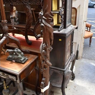 A Chinese carved hardwood standard lamp, lacking fittin...