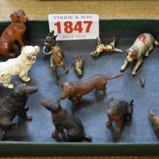 Eleven cold painted and spelter miniature animals, larg...