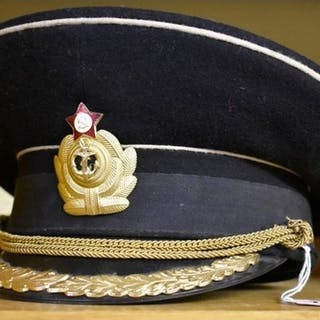 A USSR Soviet Naval Officer black peaked visor cap, size 58....