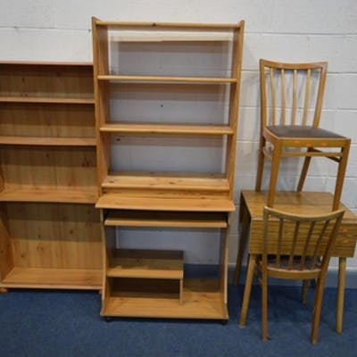 An Drop Leaf Kitchen Table Two Chairs A Pine Effect Comput Barnebys