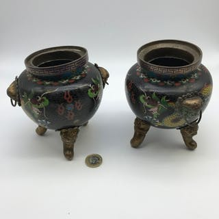 A Pair of early 20th century cloisonne pots, Sat upon three ...