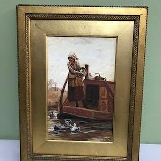Henry John Yeend King 1855-1924 watercolour depicting girl o...