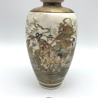 A 19th century Japanese Satsuma highly decorated vase. Depic...